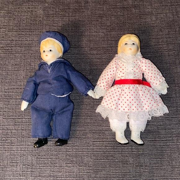 Vtg Russ Ceramic Miniature Sailor and Girl Doll